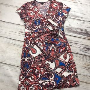 George Paisley Wrap Dress Red Blue Midi Large 12